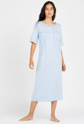 Floral Print Midi Sleep Gown with Round Neck and Short Sleeves