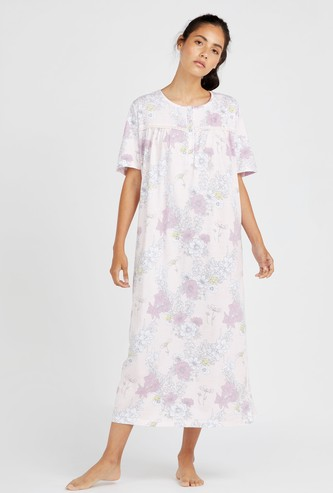 Floral Print Nightgown with Round Neck and Short Sleeves