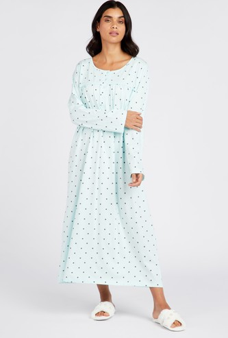 Polka Dot Print Round Neck Sleep Gown with Long Sleeves