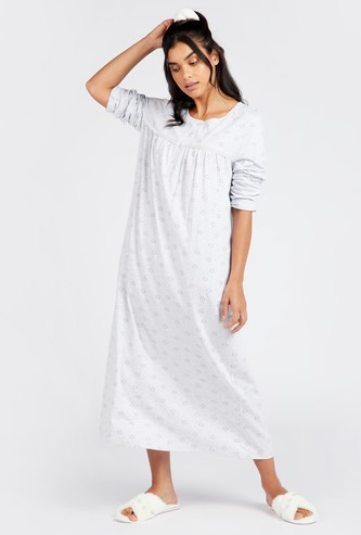 Printed Round Neck Sleep Gown with Long Sleeves