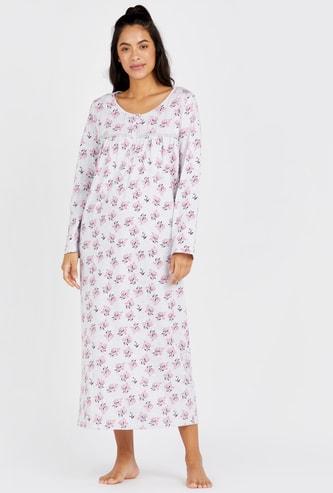 فستان نوم بأكمام طويلة و طبعات