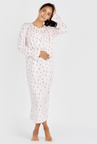 Full Length Printed Sleepdress with Long Sleeves