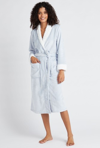 Plush Bathrobe with Patch Pockets
