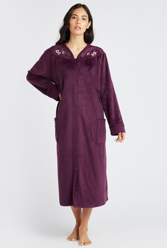 Textured 3/4 Sleep Gown with Long Sleeves and Pockets