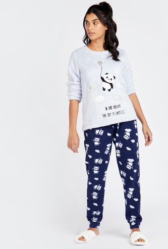 Textured Round Neck Top and Printed Full Length Pyjama Set