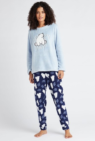 Textured Long Sleeves T-shirt and Full Length Printed Pyjama Set