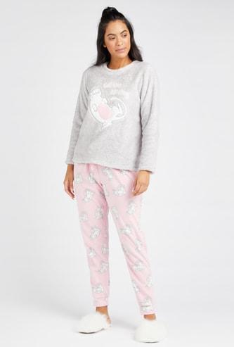 Plush Detail Round Neck T-shirt and Printed Pyjama Set
