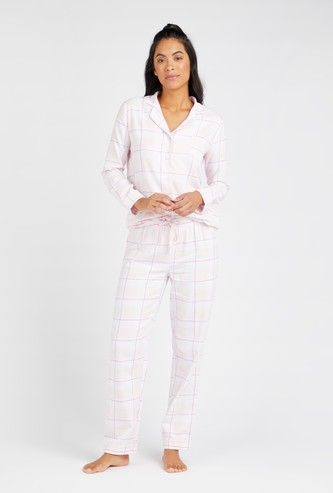 Checked Long Sleeves Shirt and Full Length Pyjama Set