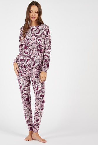 Cozy Collection Paisley Print T-shirt and Full Length Pyjama Set