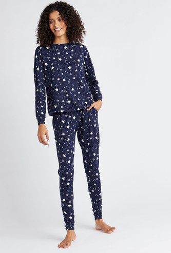 All-Over Star Print Round Neck T-shirt and Full Length Pyjama Set