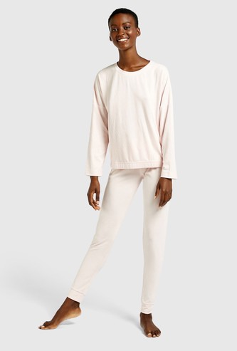 Ribbed Long Sleeves T-shirt and Full Length Pyjama Set