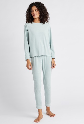 Textured Round Neck T-shirt and Pyjama Set