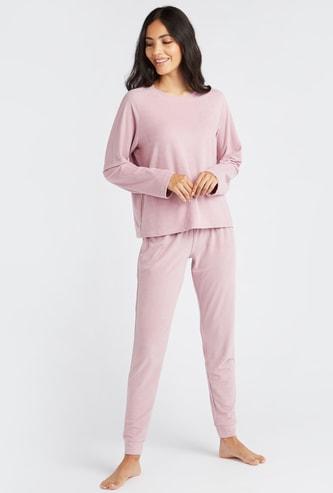 Textured Round Neck T-shirt and Pyjama Set