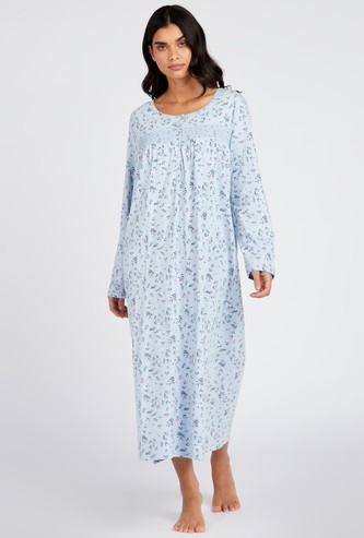 فستان نوم بطبعات أزهار وياقة مستديرة وأكمام طويلة