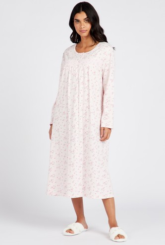 Floral Print Round Neck Sleep Gown with Long Sleeves
