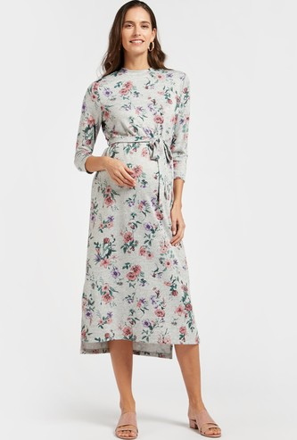 فستان إيه لاين ميدي بأكمام 3/4 وأربطة وطبعات أزهار للحوامل