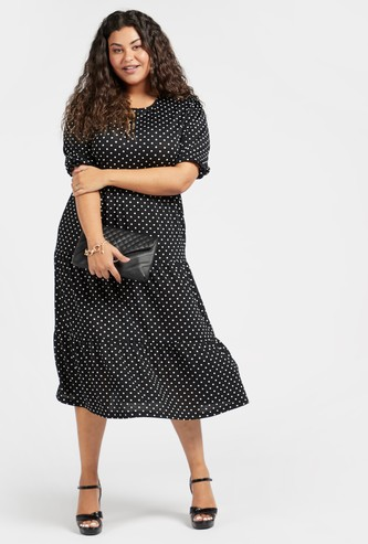 Polka Dot Print Midi Tiered Dress with Short Sleeves