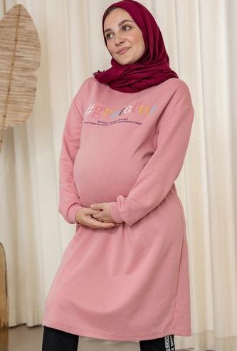 فستان حوامل واسع  بياقة عالية وأكمام طويلة و طبعات
