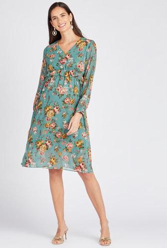 فستان إيه لاين بياقة V وأكمام طويلة طبعات أزهار للحوامل
