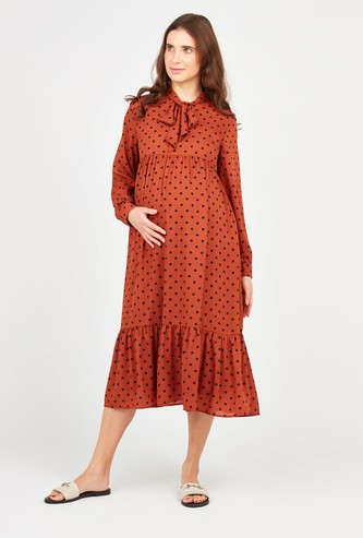 Polka Dot Print Maternity Midi A-line Dress with Necktie