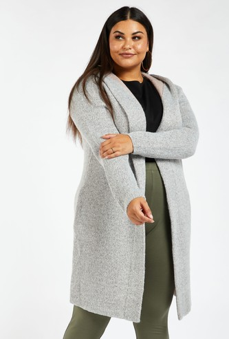 Solid Knit Cardigan with Long Sleeves and Hood