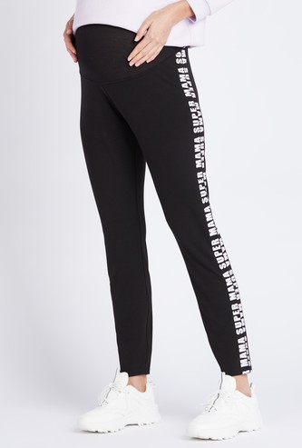 Full Length Printed Maternity Leggings with Elasticised Waistband