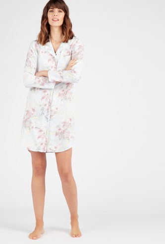 Printed Sleepshirt with Collared Neck and Long Sleeves