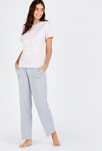 Printed Round Neck T-shirt and Full Length Solid Pyjama Set
