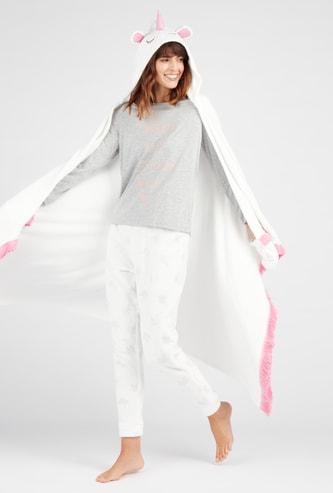 Plush Hooded Neck Full Length Robe with Fringe Detail