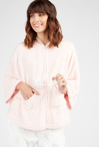 Cozy Collection Plush Hooded Neck Jacket with 3/4 Sleeves