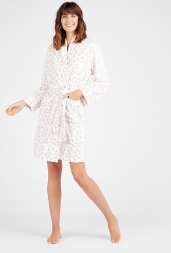 Cozy Collection Printed Hooded Neck Robe with Waist Tie-Ups