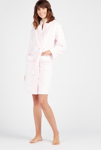Plush Hooded Neck Robe with Long Sleeves and Waist Tie Up