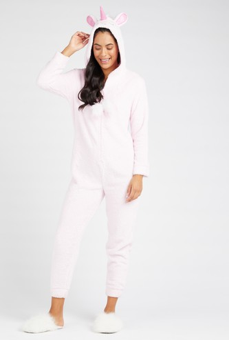 Plush Detail Cropped Length Onesie with Hooded Neck and Long Sleeves