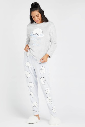 Plush Detail Long Sleeves T-shirt and Full Length Pyjama Set