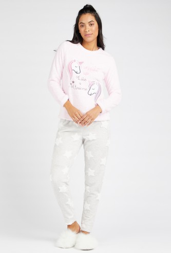 Unicorn Print Plush Detail T-shirt and Contrast Full Length Pyjamas Set