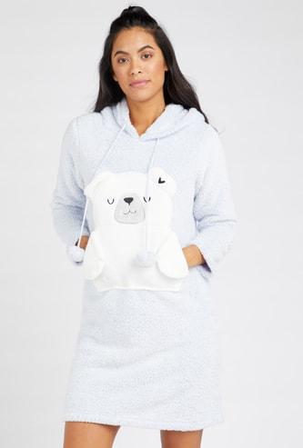 Plush Detail Sleepshirt with Long Sleeves and Drawstring Hood