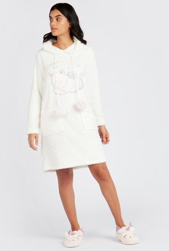 Cozy Collection Textured Sleepshirt with Hooded Neck and Long Sleeves