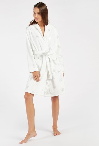 Cozy Collection Star Print Hooded Robe with Tie-Up Belt