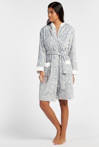Cozy Collection Printed Hooded Neck Robe with Long Sleeves and Tie Up