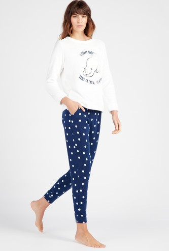Embroidered Round Neck T-shirt with Full Length Pyjama Set