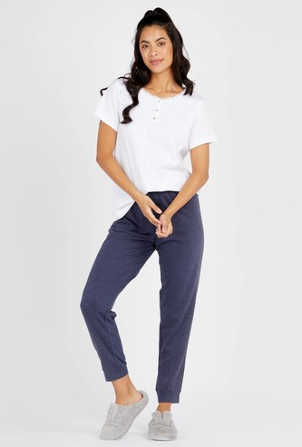 Ribbed Henley T-shirt with Short Sleeves and Full Length Pyjama Set