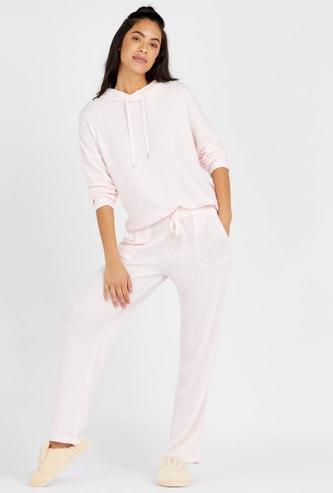 Textured Long Sleeve Top with Full Length Pyjama Set
