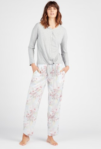 Textured V-neck Top with Floral Print Full Length Pyjama Set