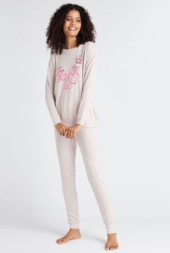 Cozy Collection Printed Round Neck Sweatshirt and Pyjama Set