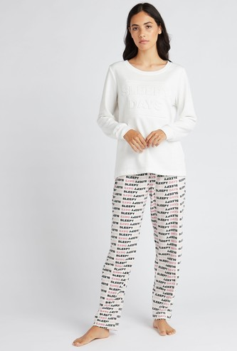 Emboss Print Round Neck T-shirt with Full Length Pyjama Set