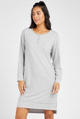 Textured Round Neck Sleepshirt with Long Sleeves