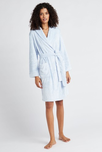 Textured Collared Neck Night Robe with Long Sleeves and Tie Up Detail
