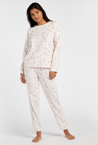 Cozy Collection Star Print Sweat Top and Full Length Joggers Set