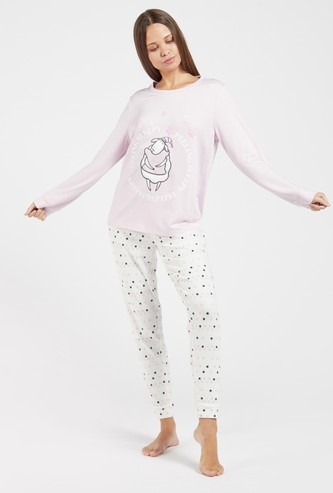 Cozy Collection Textured T-shirt and All-Over Print Pyjama Set