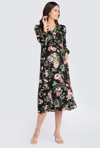 Maternity Floral Print A-line Wrap Midi Dress